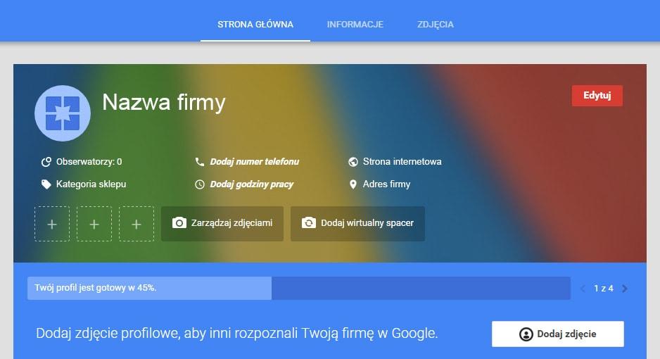 google moja firma informacje