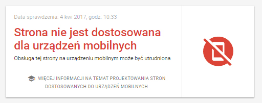 wyniki testu na mobile friendly