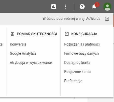 google adwords powrót do poprzedniego wyglądu