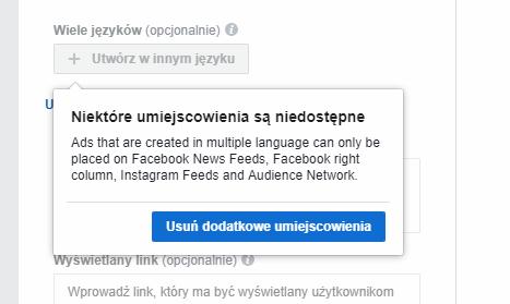 reklama w wielu językach na Facebooku