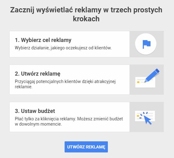 Ekran powitalny Google AdWords Express - konfiguracja narzędzia sprowadza się do przejścia jedynie trzech kroków.